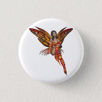 Chapa Redonda De 2,5 Cm Hada anaranjada 7 de la mariposa del duendecillo