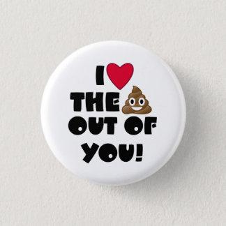 Chapa Redonda De 2,5 Cm I corazón usted Emoji Poo