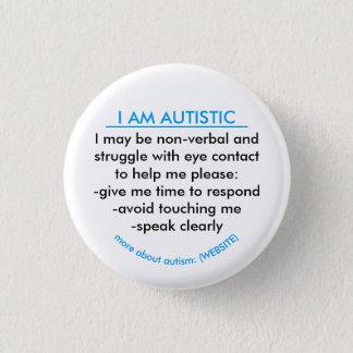 Chapa Redonda De 2,5 Cm Insignia de la información del autismo