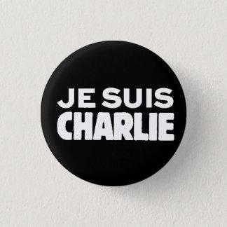 Chapa Redonda De 2,5 Cm Je Suis Charlie-Yo Charlie-Blanco en negro