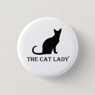 Chapa Redonda De 2,5 Cm La señora Pinback Badge Button del gato