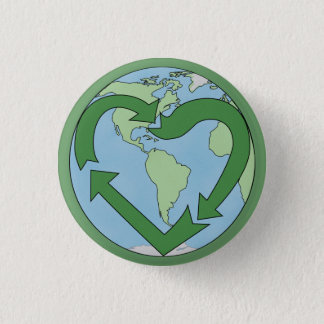 Chapa Redonda De 2,5 Cm La tierra del amor, recicla