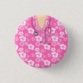 Chapa Redonda De 2,5 Cm Las tortugas de las flores rosadas y blancas