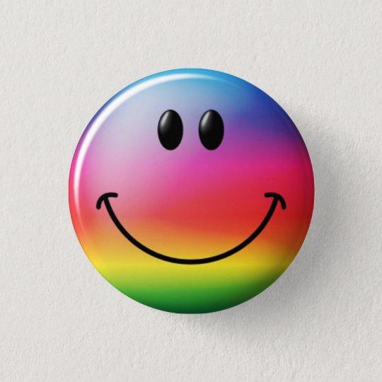 Chapa Redonda De 2,5 Cm Libertarian Smiley Arcoiris - M1