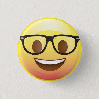 Chapa Redonda De 2,5 Cm Los vidrios felices Emoji del empollón hacen