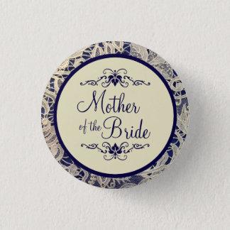 Chapa Redonda De 2,5 Cm Madre de marfil del boda de los azules marinos del