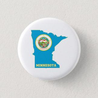 Chapa Redonda De 2,5 Cm Mapa de la bandera del estado de Minnesota
