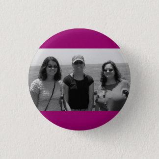 Chapa Redonda De 2,5 Cm Marco rosado oscuro llano de la foto de Fuschia
