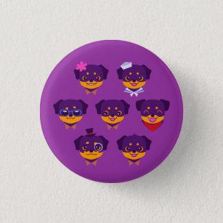 Chapa Redonda De 2,5 Cm Modelo púrpura del perrito de Kawaii Rottweiler