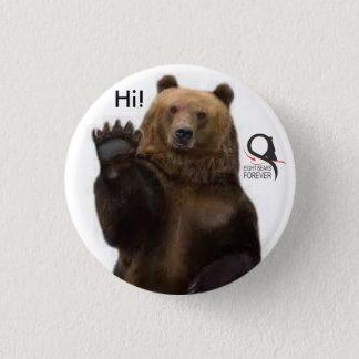 Chapa Redonda De 2,5 Cm oso grizzly hola