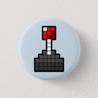 Chapa Redonda De 2,5 Cm Palanca de mando del pixel azul clara