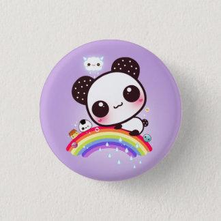 Chapa Redonda De 2,5 Cm Panda linda con la comida del kawaii en el arco