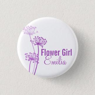 Chapa Redonda De 2,5 Cm Perno/botón púrpuras del boda de la flor moderna