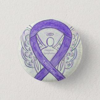 Chapa Redonda De 2,5 Cm Pernos violetas de la cinta del ángel del arte del