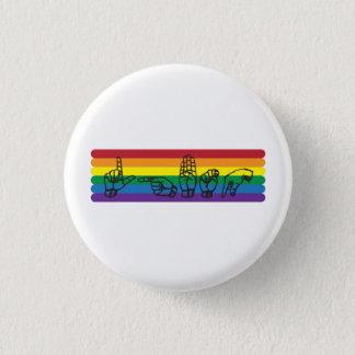 Chapa Redonda De 2,5 Cm Pin del arco iris del ASL LGBTQ