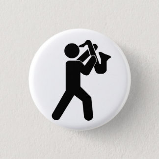 Chapa Redonda De 2,5 Cm Pin del jugador de saxofón