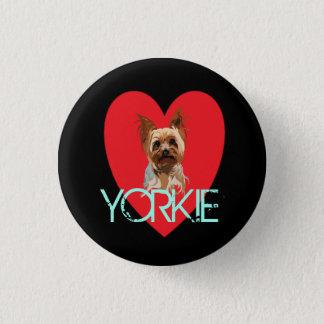 Chapa Redonda De 2,5 Cm Pin del perro: Corazón de Yorkie