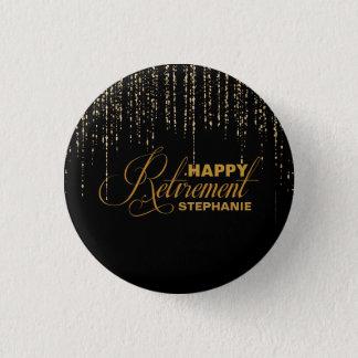 Chapa Redonda De 2,5 Cm Purpurina, oro y favor de fiesta negro de retiro