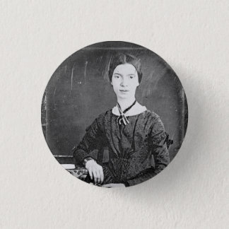 Chapa Redonda De 2,5 Cm Retrato negro y blanco de Emily Dickinson