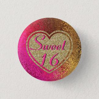 Chapa Redonda De 2,5 Cm Rosa del Glitz y dulce 16 del oro