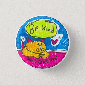 Chapa Redonda De 2,5 Cm Sea gato amarillo bueno con el corazón