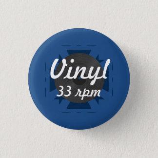 Chapa Redonda De 2,5 Cm Vinilo 33 RPM, azul/blanco/gris