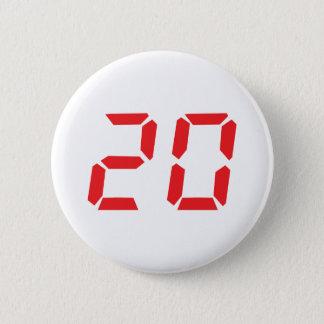 Chapa Redonda De 5 Cm 20 número digital del despertador de veinte rojos