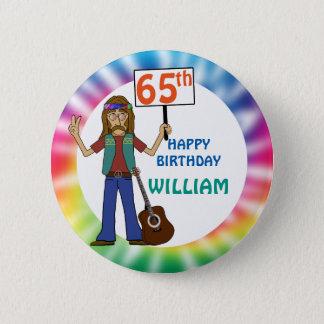 Chapa Redonda De 5 Cm 65.a fiesta de cumpleaños del viejo del Hippie