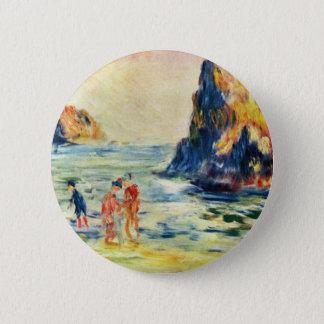 Chapa Redonda De 5 Cm Acantilados de Guernesey de Pierre-Auguste Renoir