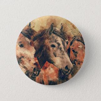 Chapa Redonda De 5 Cm Acuarela artística de los caballos que pinta