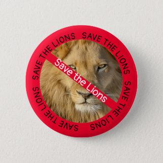 Chapa Redonda De 5 Cm Ahorre los leones, botones de las causas de los