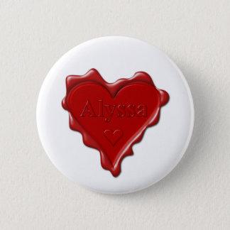 Chapa Redonda De 5 Cm Alyssa. Sello rojo de la cera del corazón con