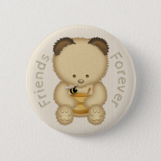 Chapa Redonda De 5 Cm Amigos del oso y de la abeja de miel para siempre