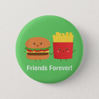 Chapa Redonda De 5 Cm Amigos lindos de la hamburguesa y de las fritadas