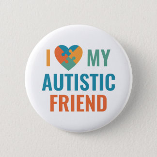 Chapa Redonda De 5 Cm Amo a mi amigo autístico