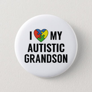 Chapa Redonda De 5 Cm Amo a mi nieto autístico