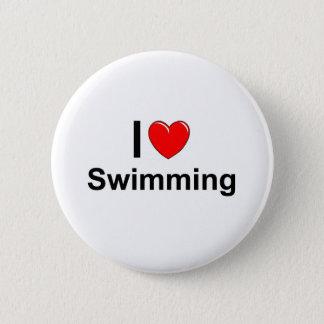 Chapa Redonda De 5 Cm Amo la natación del corazón