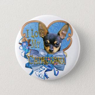 Chapa Redonda De 5 Cm Amo mi chihuahua en corazón azul