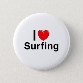 Chapa Redonda De 5 Cm Amo practicar surf del corazón