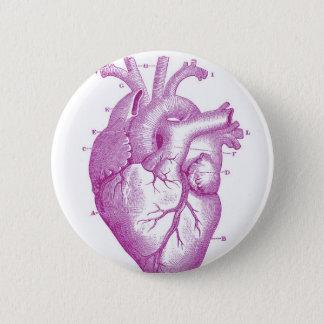 Chapa Redonda De 5 Cm Anatomía púrpura del corazón del vintage