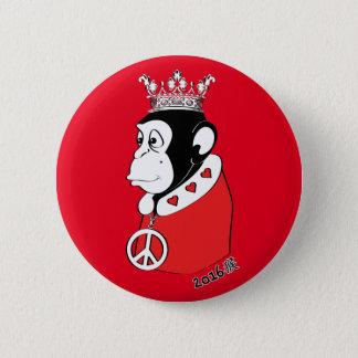 Chapa Redonda De 5 Cm Año del rey pacífico y cariñoso 2016 del mono