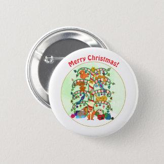 Chapa Redonda De 5 Cm Árbol animal del día de fiesta del navidad de