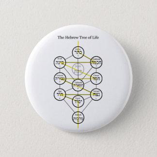 Chapa Redonda De 5 Cm Árbol de Kabbalistic del hebreo de la vida con la