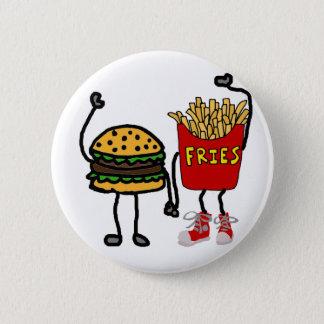 Chapa Redonda De 5 Cm Arte divertido de la hamburguesa y del dibujo
