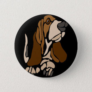 Chapa Redonda De 5 Cm Arte divertido del perro de Basset Hound