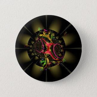 Chapa Redonda De 5 Cm Arte geométrico del fractal colorido de la
