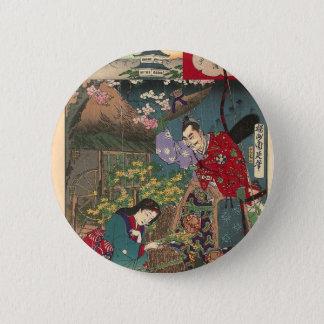 Chapa Redonda De 5 Cm Arte hermoso japonés del samurai del geisha