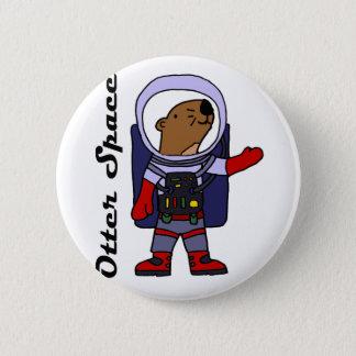 Chapa Redonda De 5 Cm Astronauta divertido de la nutria de mar en dibujo