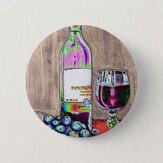 Chapa Redonda De 5 Cm Aún el arte moderno de la vida del vino y las uvas