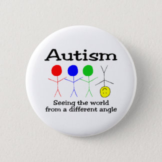Chapa Redonda De 5 Cm Autismo que ve el mundo de un diverso ángulo